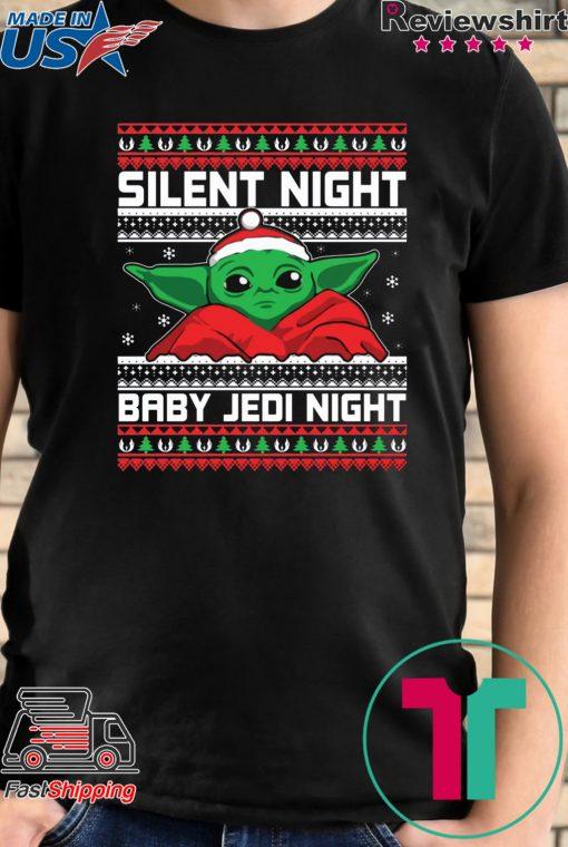 Baby Yoda Silent Night Baby Jedi Night Shirt
