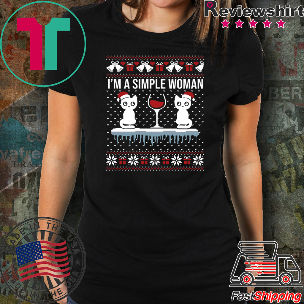 I'm a simple woman who loves cat and wine ugly christmas shirt