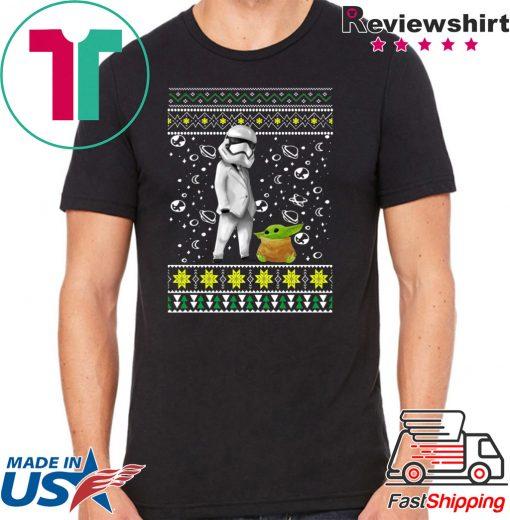 Star Wars Stormtrooper And Baby Yoda Ugly Christmas Shirt