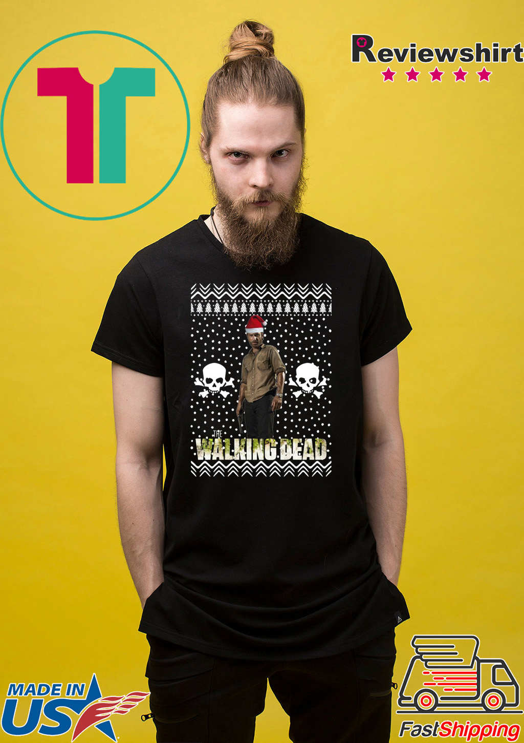 The Walking Dead Rick Grimes Santa Hat Christmas Shirt