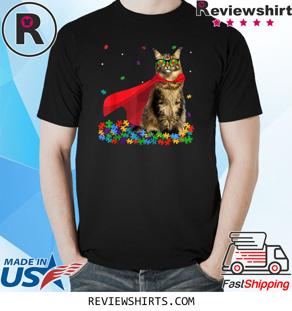 Cool Maine Coon Autism Awareness Graphic Cat Lover T-Shirt