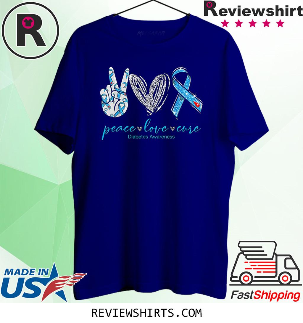 Peace Love Cure Diabetes Awareness T-Shirt