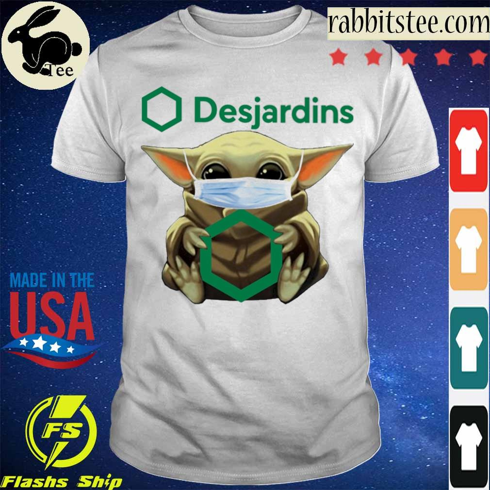 Baby Yoda hug Desjardins Group shirt
