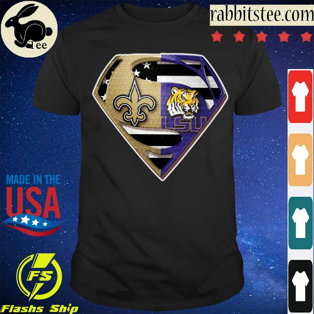Superman New Orleans Saints and LSU Tigers shirt