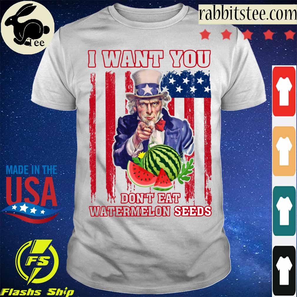 Tio Sam I want you don_t eat watermelon seeds america flag shirt