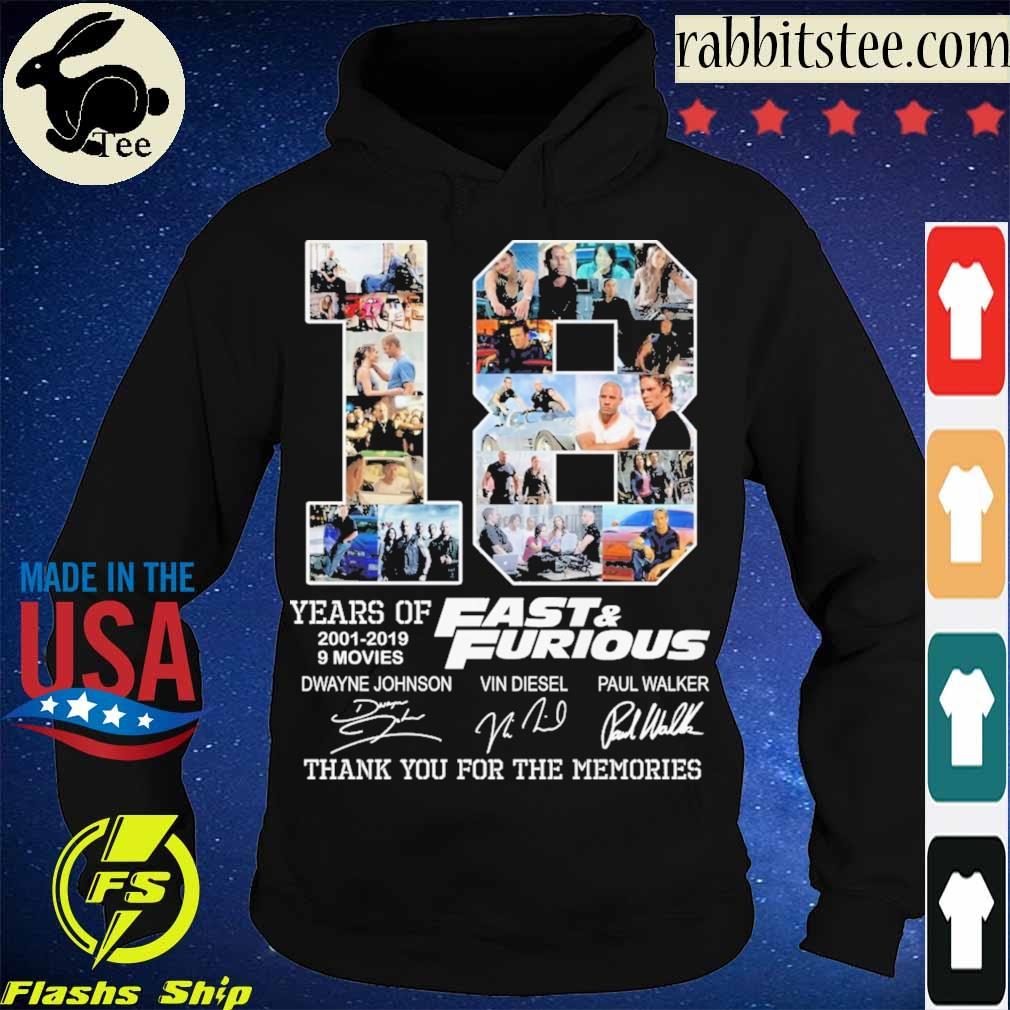 18 year of 2001 2019 9 movies Fast & Furious signatures s Hoodie